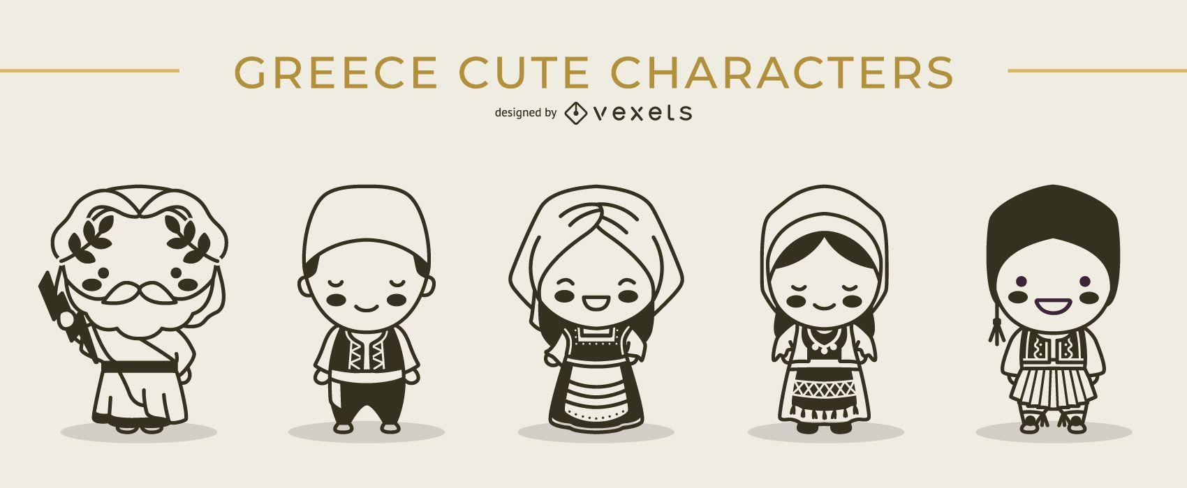 Cute greek characters stroke set