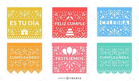 Conjunto de Design de Festa de Papel Picado