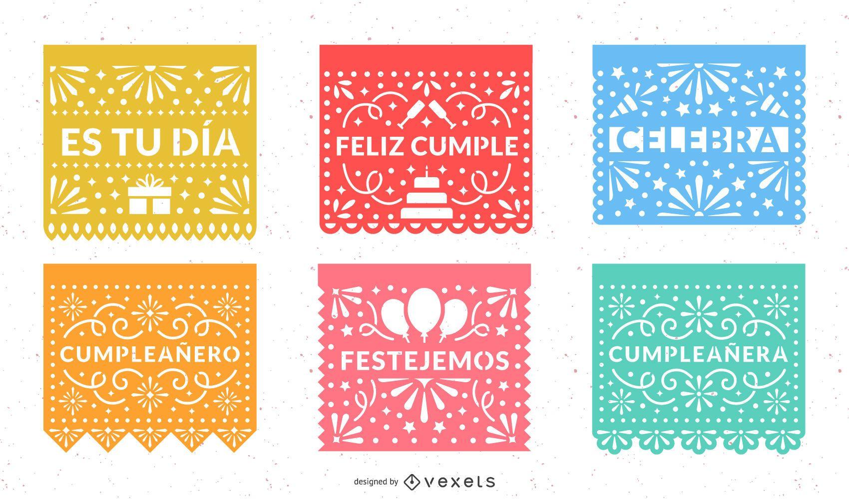 Conjunto de Design de Festa Papel Picado