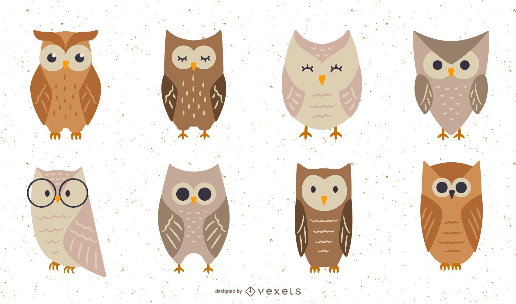 Conjunto de ilustración plana de búhos