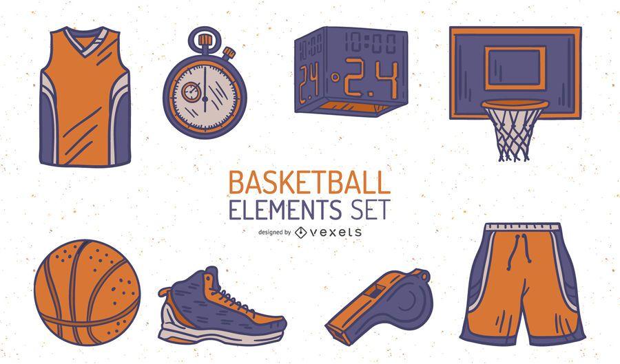 Paquete de elementos ilustrados de baloncesto