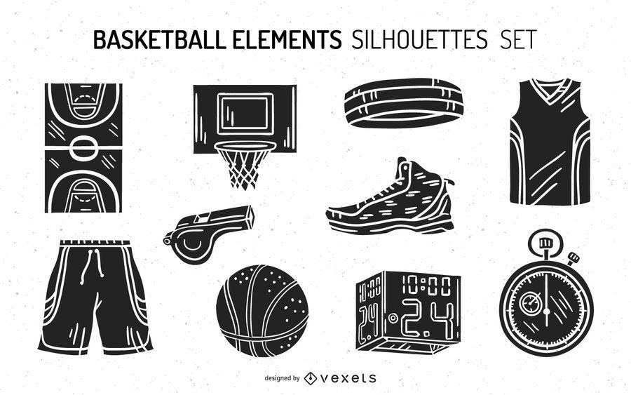 Paquete de diseño de silueta de elementos de baloncesto