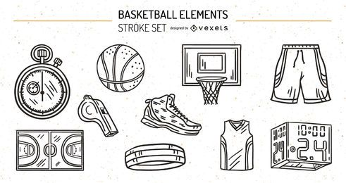 Baskeball Elements Stroke Design Set