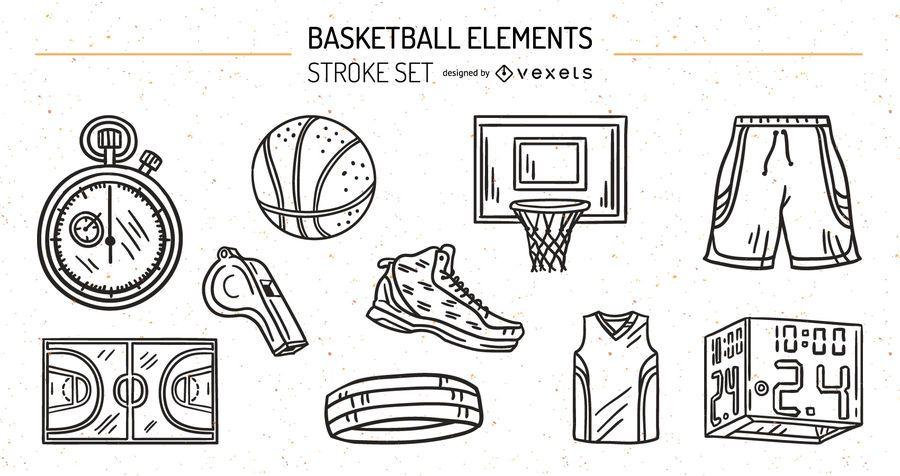 Baskeball Elements Stroke Design Set