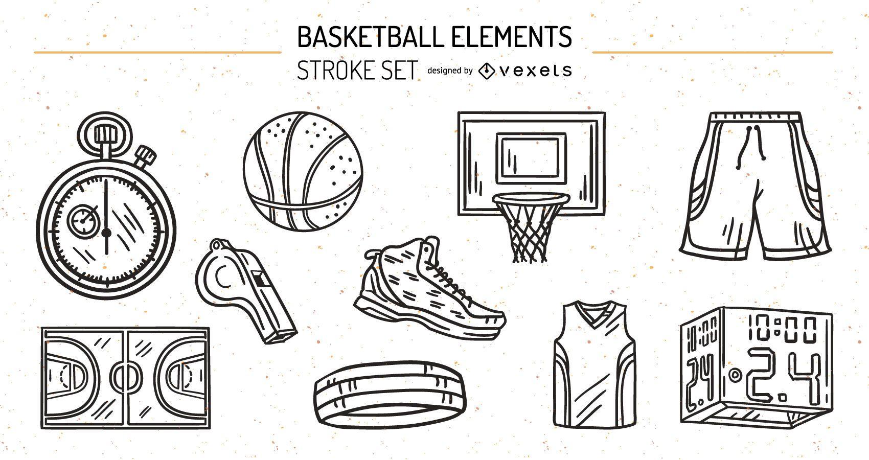 Conjunto de diseño de trazo de elementos de baskeball
