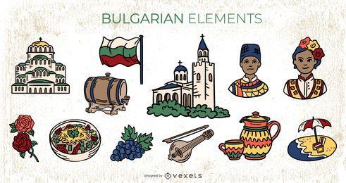 Paquete de ilustraciones coloridas de elementos búlgaros
