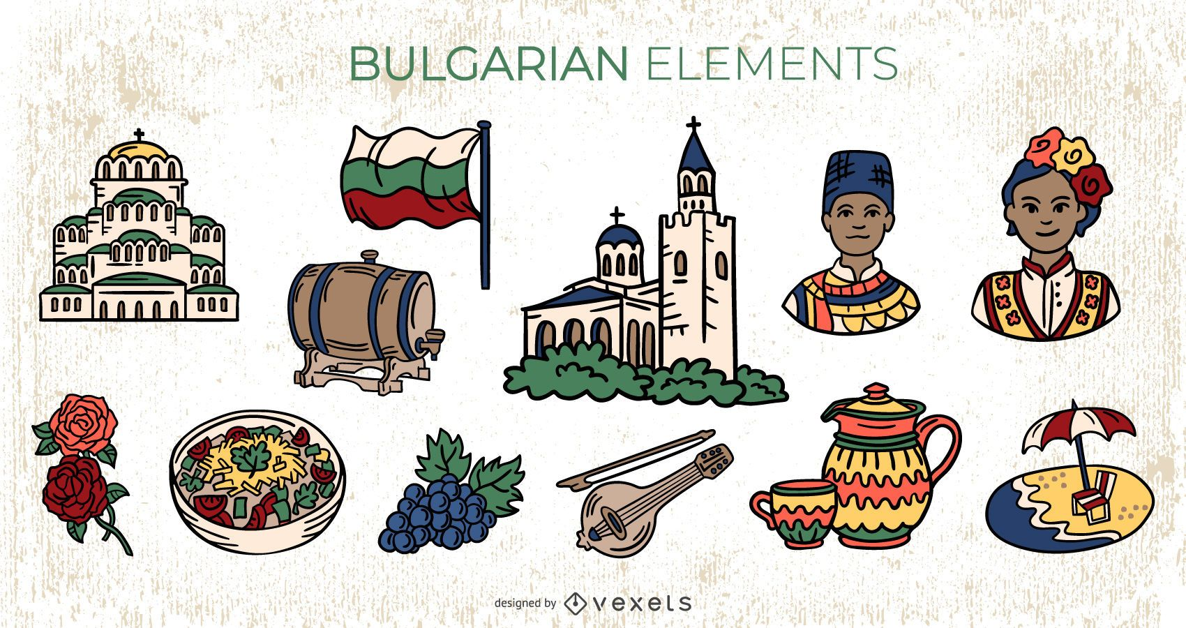 Bulgarian Elements Colorful Illustration Pack