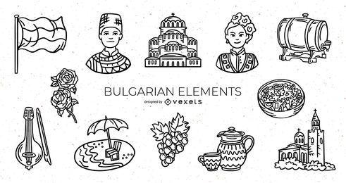 Paquete de diseño de elementos de trazo búlgaro