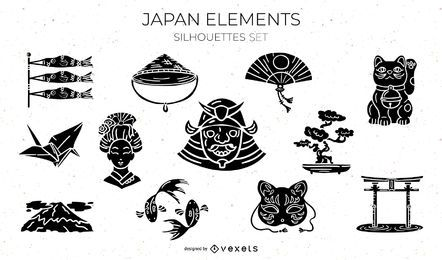 Japanese Elements Silhouette Design Pack