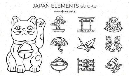 Paquete de diseño de trazo de Japan Elements