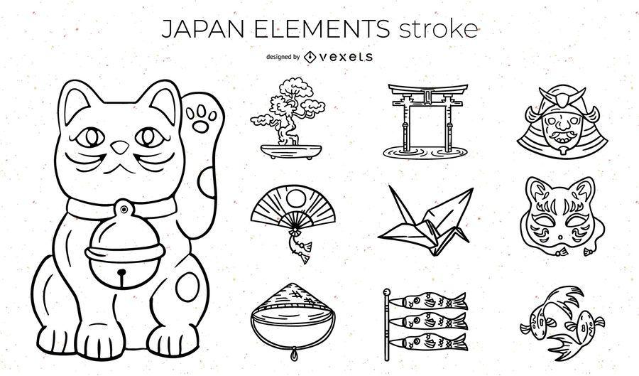 Japan Elements Stroke Design Pack