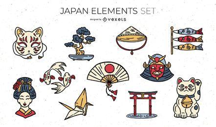 Pacote de ilustração de elementos japoneses