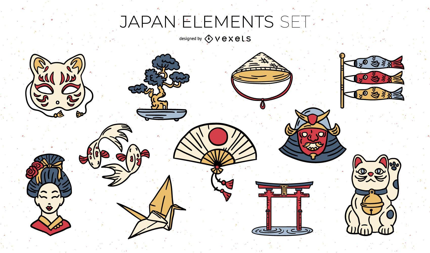 Paquete de ilustración de elementos japoneses