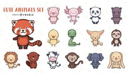 Pacote de design de personagens de animais fofos