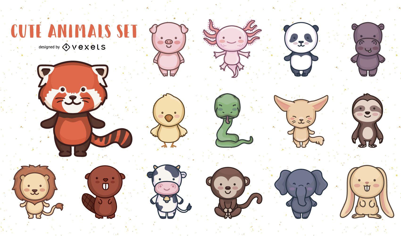 Paquete de diseño de personajes de animales lindos