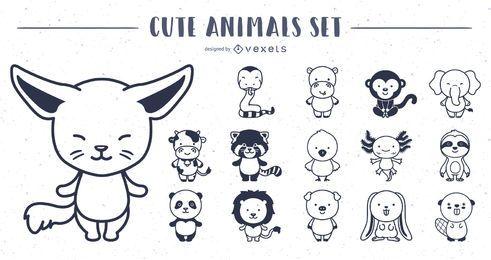 Coleção de Design de animais fofos