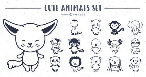 Cute Animals Stroke Design Collection