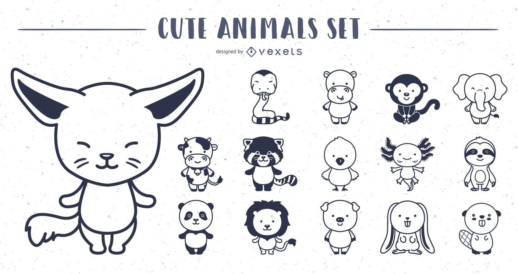 Colección de diseño de trazo de animales lindos