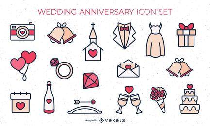 Conjunto de ícones lisos de casamento colorido
