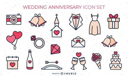 Flat Colored Wedding Icon Set