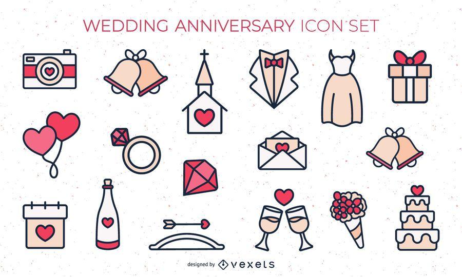 Flat Colored Wedding Icon Set