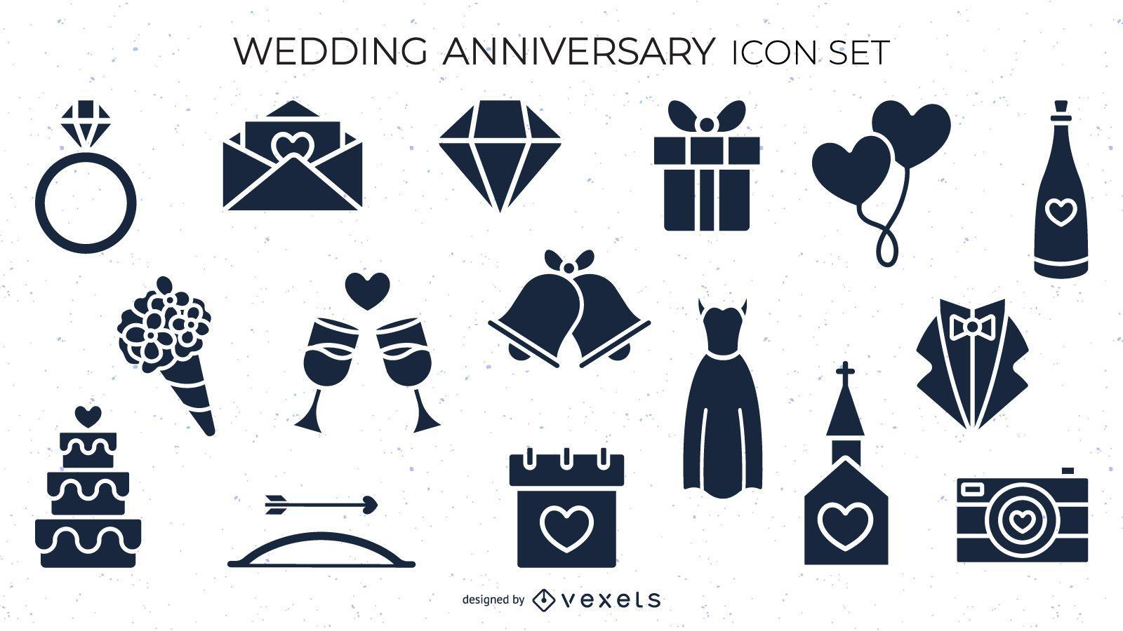 Wedding anniversary icon set