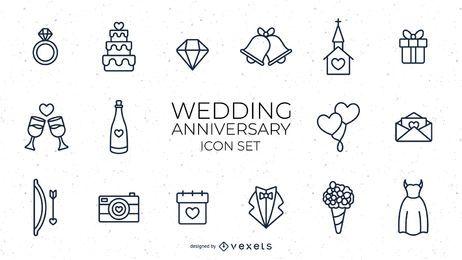Conjunto de trazos de aniversario de boda