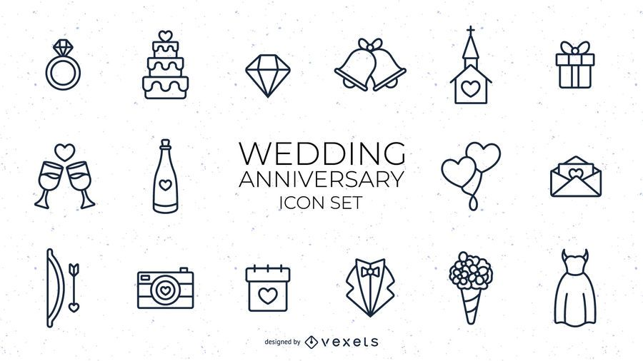 Wedding anniversary stroke set