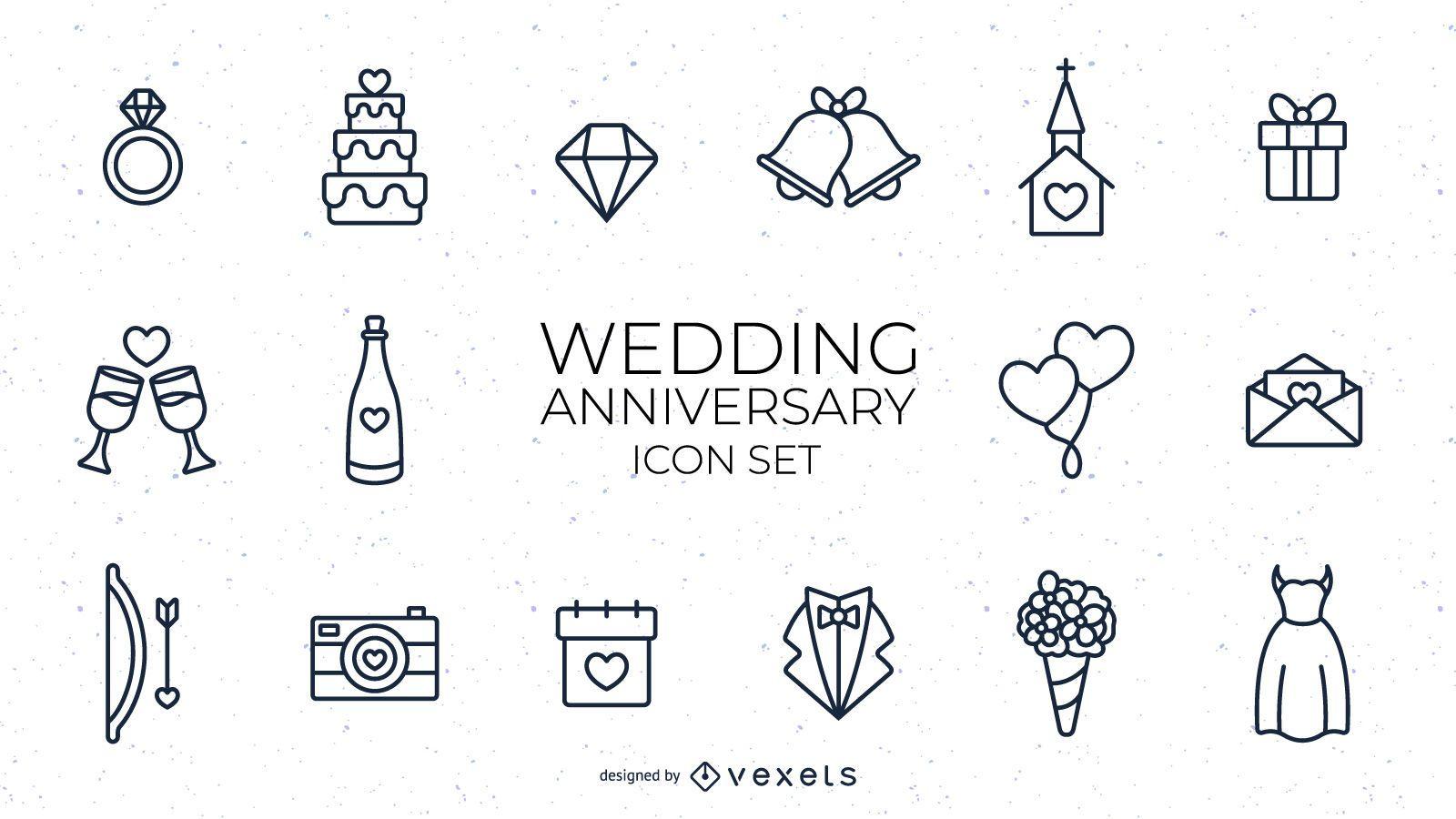 Wedding anniversary stroke set