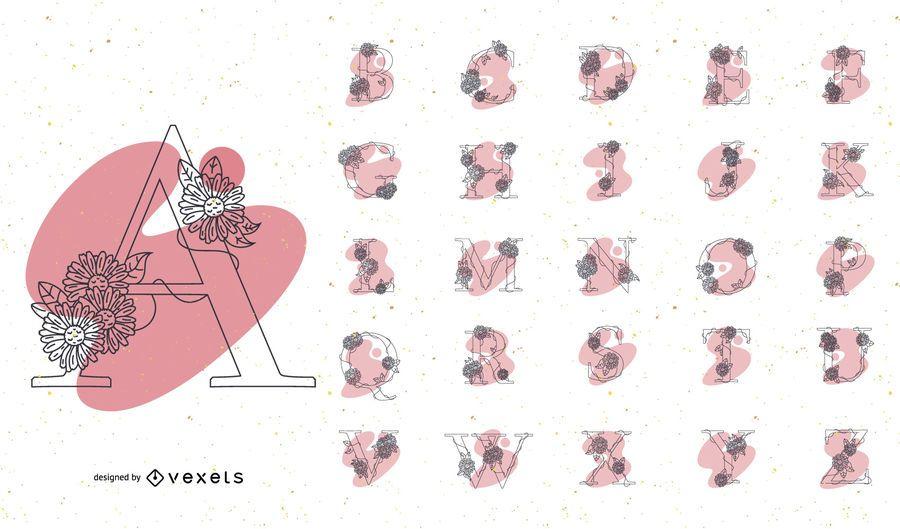 Alphabet with flowers color set