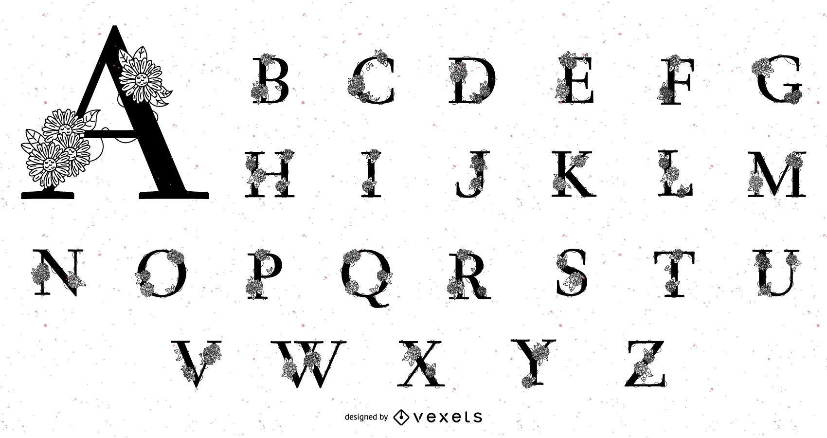 Conjunto de alfabeto com flores