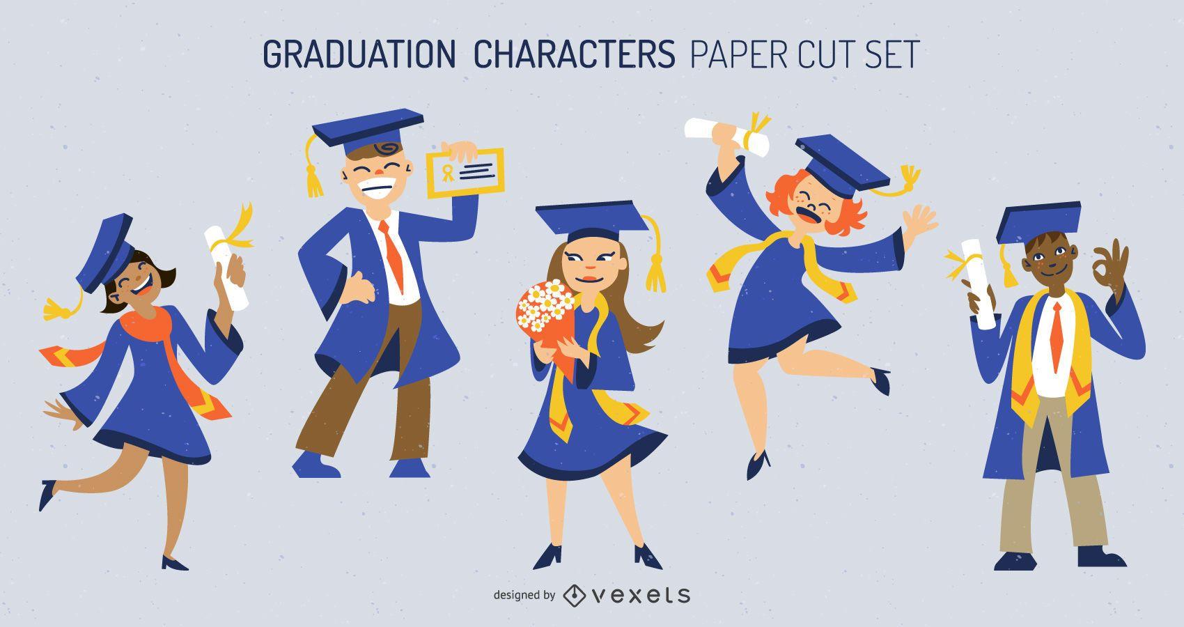 Conjunto de personajes de graduación