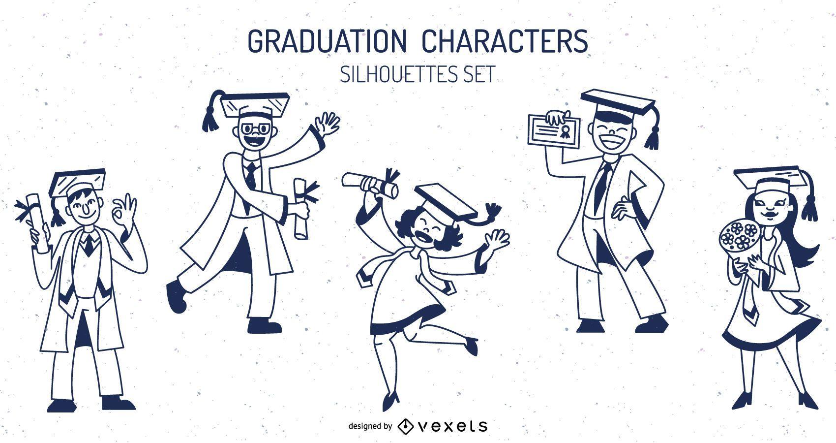 Conjunto de trazos de personajes de graduación