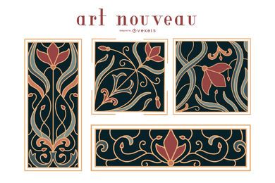 Art nouveau ornaments set