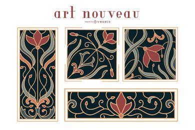 Conjunto de ornamentos art nouveau