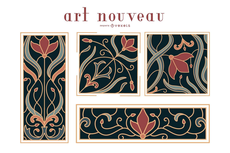 Art nouveau ornaments set