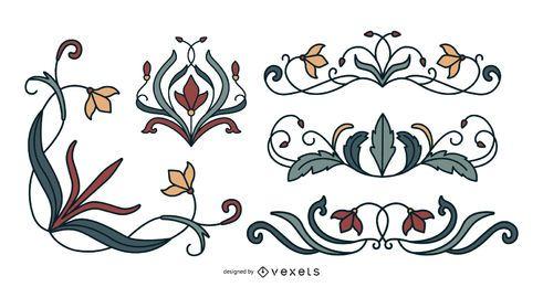 Conjunto de enfeites florais art nouveau
