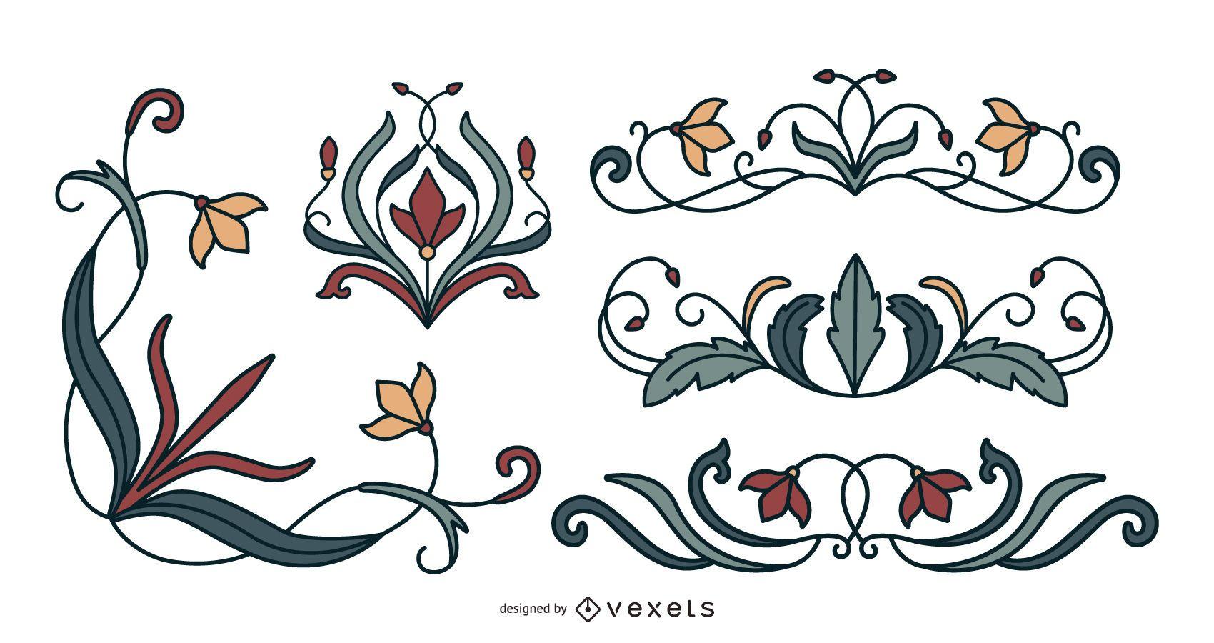 Art nouveau floral ornaments set