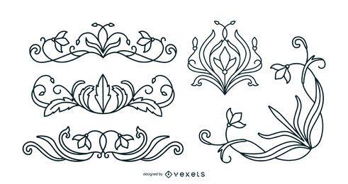 Conjunto de traços de ornamentos florais art nouveau
