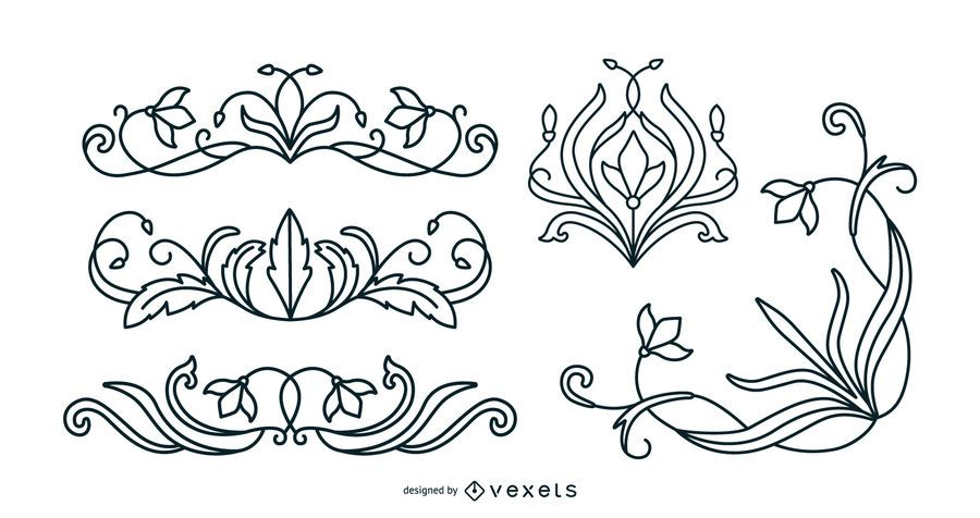 Art nouveau floral ornaments stroke set