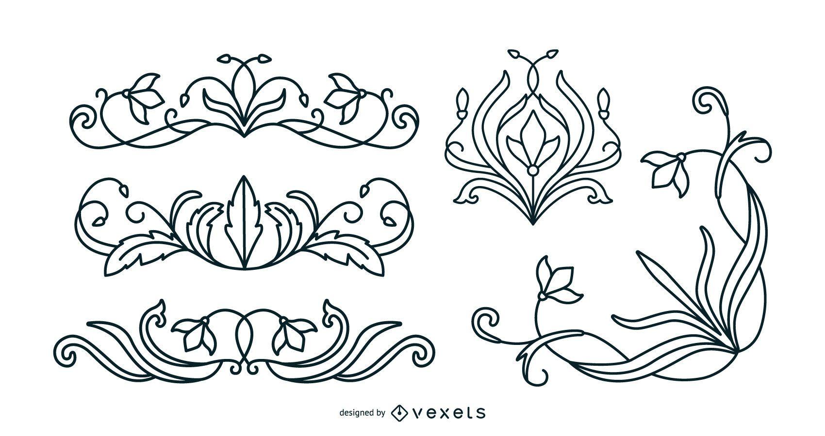 Art nouveau floral ornaments stroke set