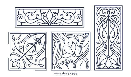 Art nouveau stroke ornaments set