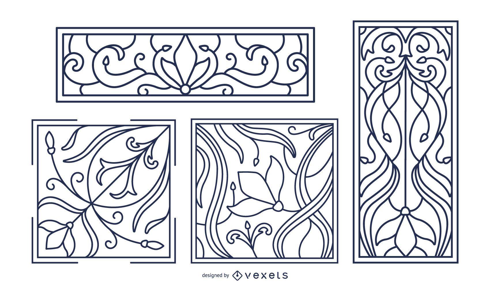 Conjunto de adornos de trazo art nouveau.