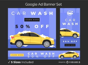 Car wash ad banner set