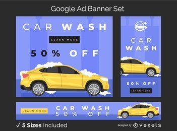 Conjunto de banner de anúncio de lavagem de carro
