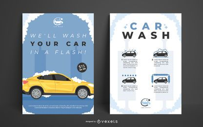 Car wash poster template set