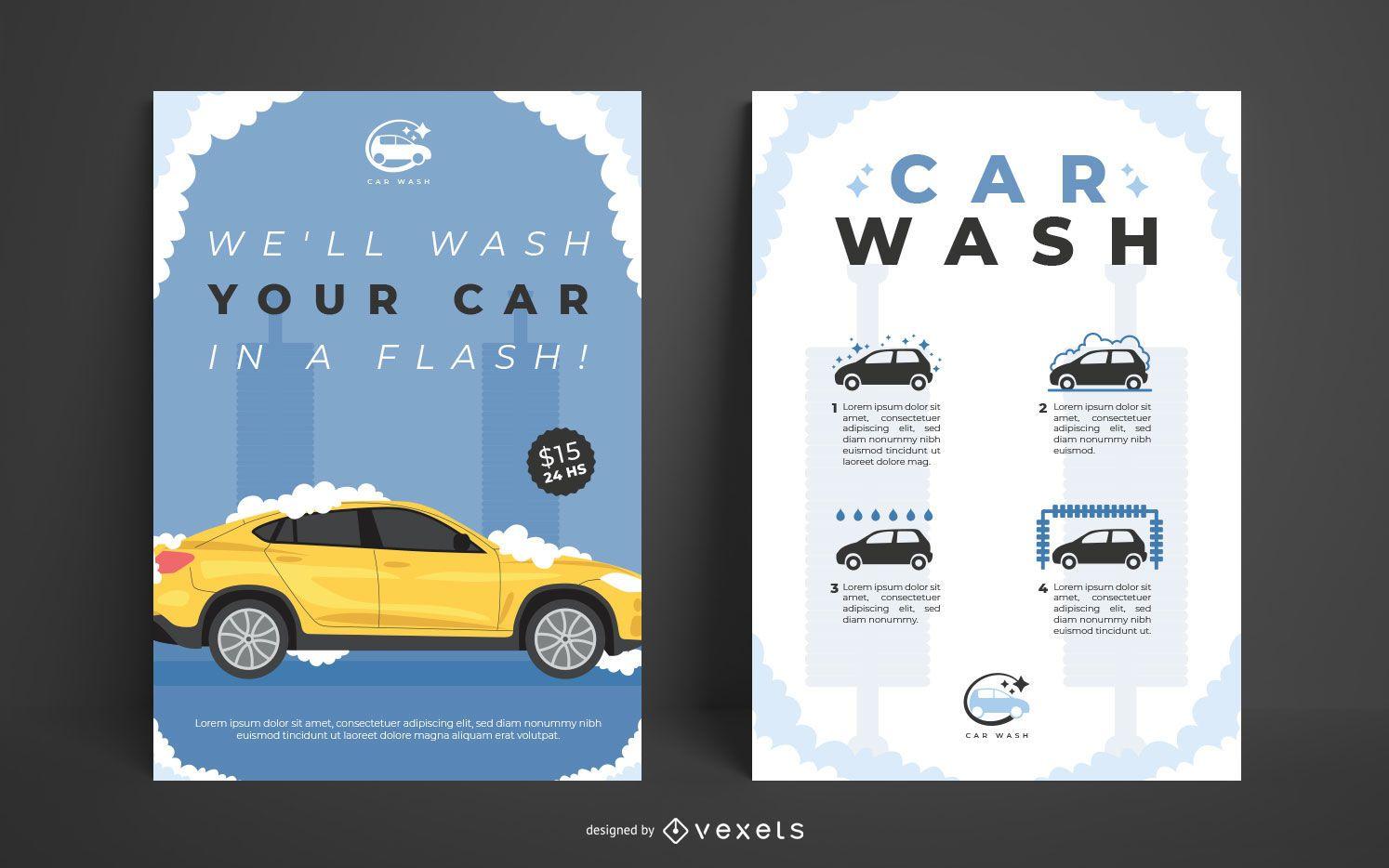 Conjunto de plantillas de carteles de lavado de autos