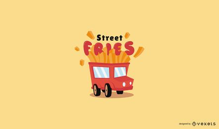 Fries food truck logo template