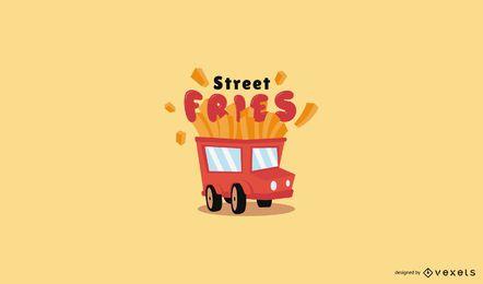Modelo de logotipo de caminhão de comida de batatas fritas
