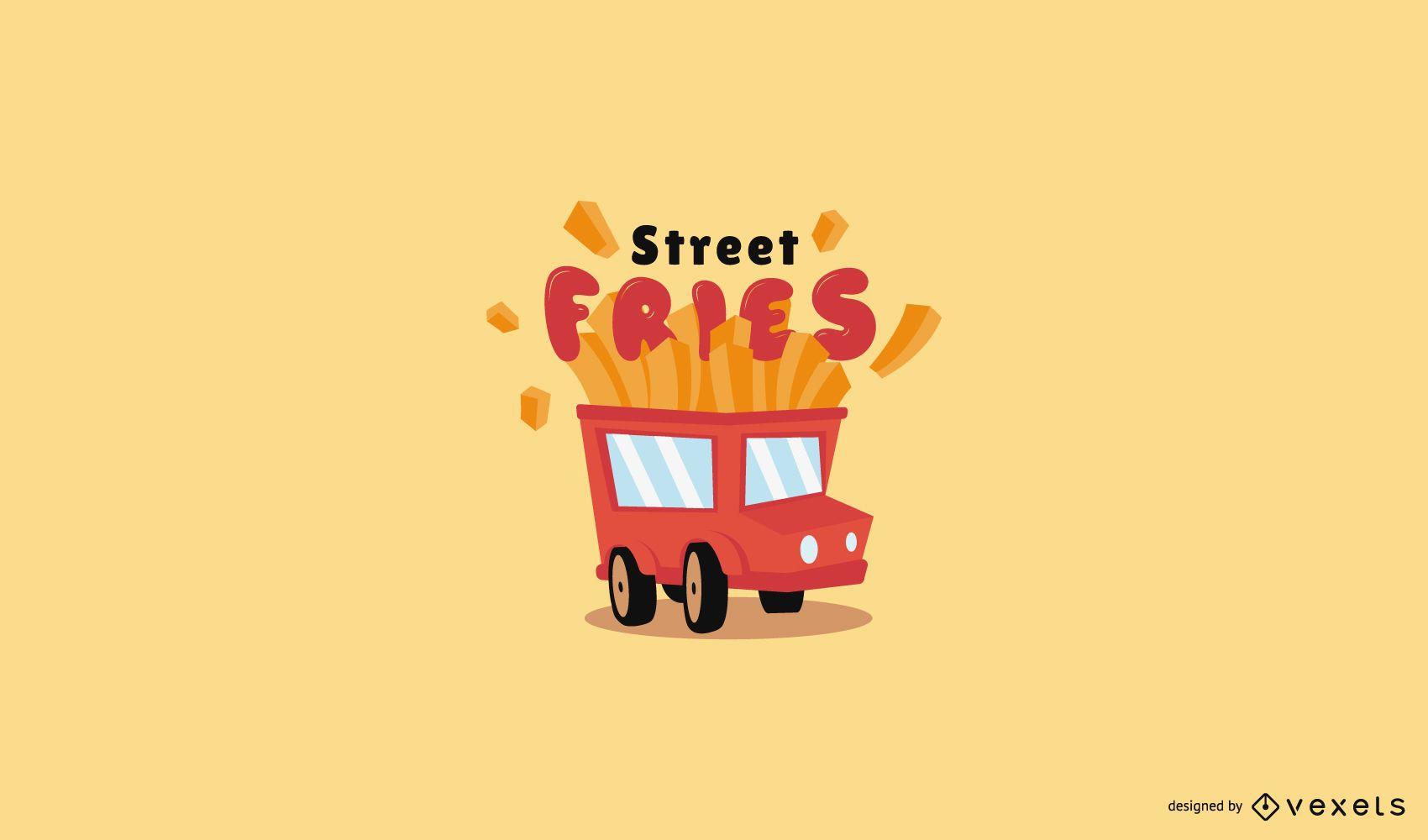 Plantilla de logotipo de camión de comida fritas